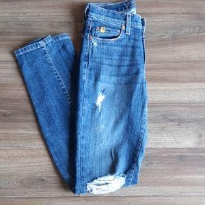 Denim - Second YOGA Distressed High-rise Jeans